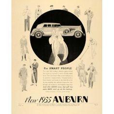 1935 Ad Auburn Automobile Art Deco Indiana Art Deco