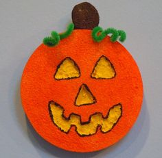 Halloween craft for kids; Styrofoam Pumpkin Decoration