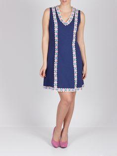 Vestido azul con encaje de flores #dress