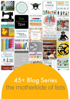I love to follow a series! Here's a HUGE list that's being updated with series of tutorials, themed sewing and crafting, sewalongs and competitions.