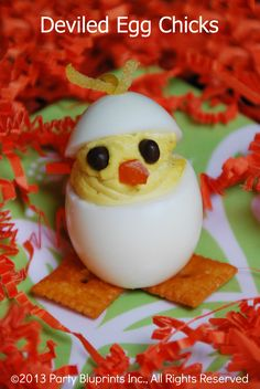 Deviled Egg Chicks   Try these simple, yet special Deviled Egg Chicks for Easter this year.  They will be the stars of the table!   From: partybluprintsblog.com