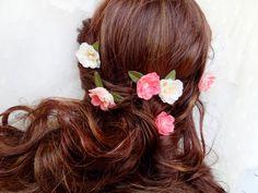 pink rose hair pins, cream flower bobby pins, bridal hair accessory - POCKETFUL-O ROSIES - set of 6. $55.00, via Etsy.