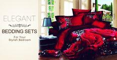 Elegant Rose and Flower Print Bedding Set Live a better life, start with @beddinginn
