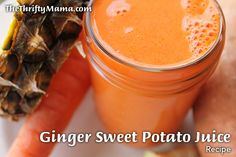 Ginger Sweet Potato Juice Recipe   1 sweet potato, peeled if blending instead of juicing. 1 large carrot, end removed if blending  1 large slice pineapple, peeled, cored if blending (about ½ cup fruit) core can be juiced. 1/4 inch slice of ginger root, peeled if blending    Juice all ingredients. Serve in chilled glass.