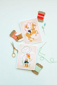 Imprimible tarjetas para coser para peques inspiradas en el Oeste Americano >> Printable Sewing Card Activity for Kids