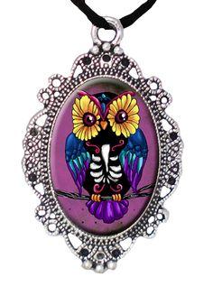 """Sugar Skull Owl"" Cameo by Alkemie Apparel #InkedShop #owl #cameo #jewelry #style #fashion #necklace #pendant"