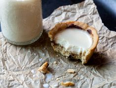 Chocolate Chip Cookie Cups with Panna Cotta Milk | spachethespatula.com #recipe