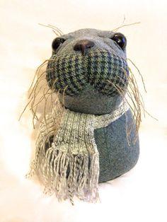 Sea lion, seal. Textile sculpture, fibre art, fabric fun. Nautical taxidermy.