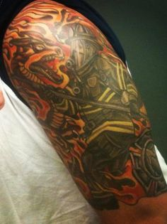 'Fighting the Dragon' Tattoo (half sleeve) | Shared by LION