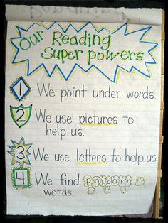 Reading Super Powers anchor chart from Mrs. Jones's Kindergarten