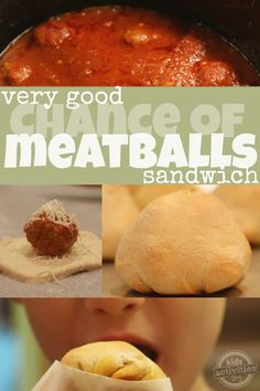 What a fun idea for lunchboxes! {Yummy} Very Good Chance of Meatballs Sandwich Recipe