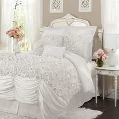 Lucia 4-pc White Comforter Set....saw this in ivory and it pained me that it wouldnt match my room!