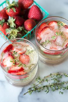 Strawberry Thyme Lillet Spritzers