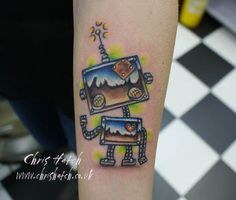 Cute Robot Tattoo by Chris Hatch Tattoos and Stuff, via Flickr