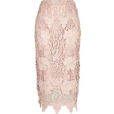 Light pink lace pencil skirt