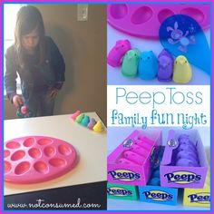 Peep toss. Sweet and sticky fun for your next family fun night.