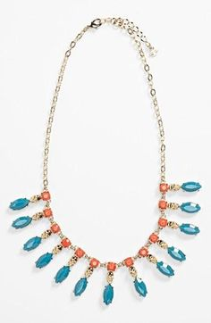 Beautiful! Coral & Turquoise Statement Necklace