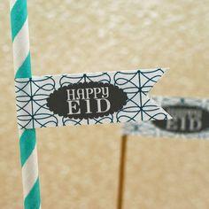 Eid Straws with Happy Eid Stickers on them