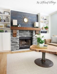 Rustic meets Contemporary Living Room | The Lettered Cottage | Flor Carpet Squares | Airstone Fireplace | Wood Wall