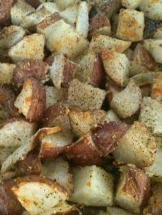 Red Potatoes - Add onions, basil, garlic and Parmesan tossed in bowl. bake 350 about 45 min