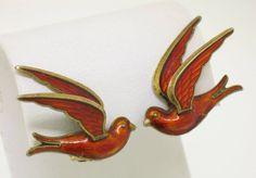 Vintage Norway Sterling Silver Red Enamel Bird Earrings