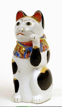 "Maneki Neko - Kutani - Painted Porcelain. Circa Early to Mid 20th Century. 9-1/2"" x 4""."
