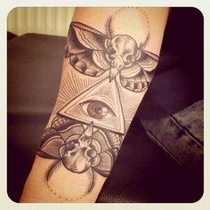 occult style tattoo by Sarah Bolen #tattoo #occult #illustration