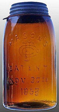 Mason's, CFJ, Patent Nov 30th 1858, Deep Amber, Quart.A quart deep amber Mason's CFJ Patent Nov 30th 1858 glass fruit or canning jar