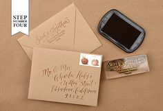 Pretty calligraphy on rustic Kraft envelopes.