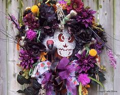 "Door Wreath Halloween Silk Floral in purple and black ""A Vulture and His Bones"" hand made by Cottage Crafts Online"