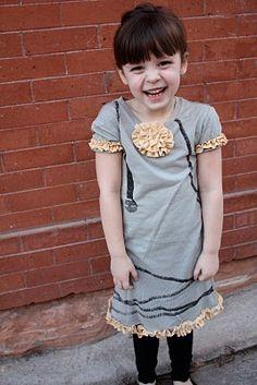Jr. t-shirt into girl's dress (refashion)...