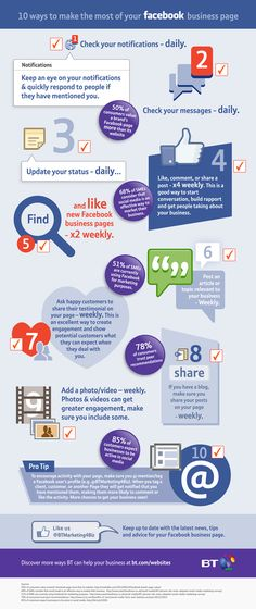 10 ways to make the most of your Facebook business page. Great tips here! #Facebook #Infographic Follow me on Facebook for more socialmedia marketing tips! https://www.facebook.com/SocialCatapult