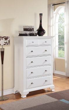 Roundhill Furniture Laveno 012 White Wood 5-Drawer Chest $499.77 (save $128.79)