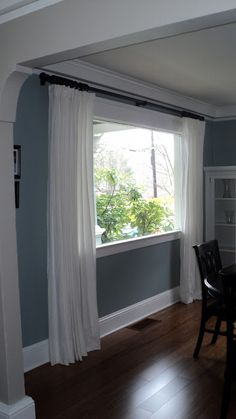 Like the paint color, crown molding, curtains, etc. IKEA Ritva white curtains