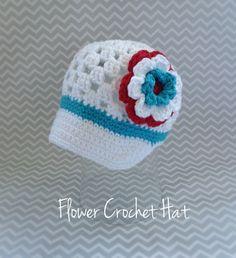 Flower Crochet Hat with brim