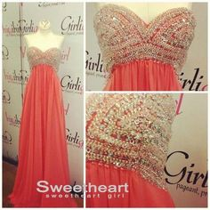 Red A-line Chiffon Beaded Long Prom Dresses, Formal Dresses #prom #dress #evening #promdress $248