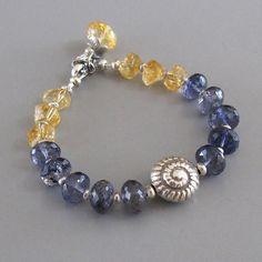 Iolite Citrine Nugget Gemstone Sterling Silver Shell Bead Bracelet