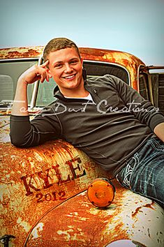 Senior Boy... Need old truck! Embossing the name into the surroundings.