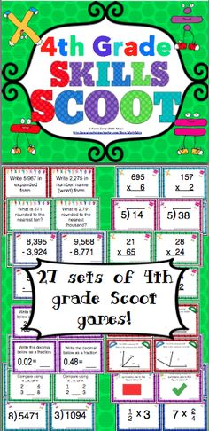 4th Grade Math Skills Scoot Mega Bundle - Your students will have a blast working on 4th grade math skills with this set of 27 Scoot games! Scoot is a fast paced, whole class game that is simple to make and LOTS of fun! These Scoot cards are also great for centers and small groups! Available for grades 3 - 5. $