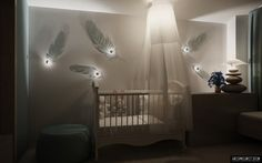 nursery design, baby design, nursery rooms, wall sconces, nurseri, feather, kid room, kids design, babies rooms