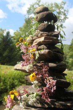summer's end -- our river rock sculpture