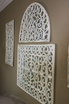 frugal home decor. outdoor black rubber door mats - spray painted white!