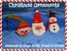 Crochet Christmas ornaments: Santa Claus, elf, snowman
