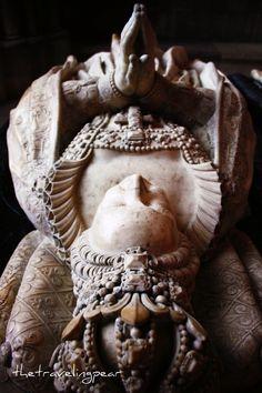 Catherine de Medici's tomb - sculpted effigy by Germain Pilon in the Basilica of Saint Denis, Paris.