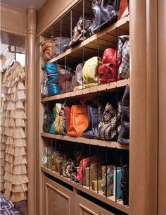 Closet_Great ideas for shoes & purses here. This pic is one of the neatest for purses I have ever seen! Easy to see and look how this system is slotted to accomodate the need of the size of the handbag/purse. Like a lot.