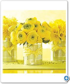 Tie bows or Poke holes in the cans, can hold flowers or programs