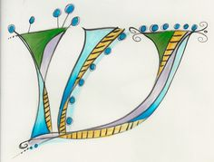 Dabbling in whimsical Hebrew letters. Hebrew Shin / Sin by Allison Carter