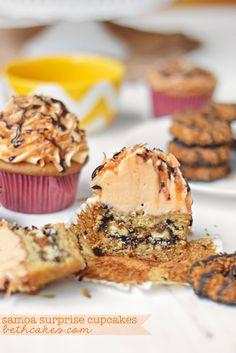 Samoa Stuffed Caramel Cupcakes - bethcakes.com