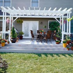A basic platform deck becomes beautiful with the addition of an arbor.