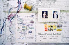 Map and photo wedding Invitations.